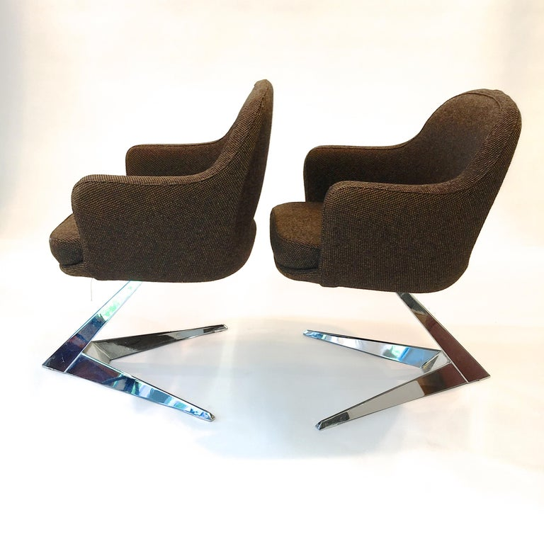Mid-Century Modern Pair of Fauteuils Attributed to Jacques Adnet for Air France Boardroom For Sale