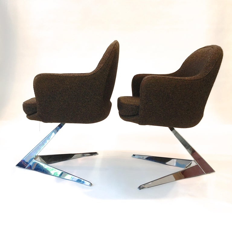 French Pair of Fauteuils Attributed to Jacques Adnet for Air France Boardroom For Sale