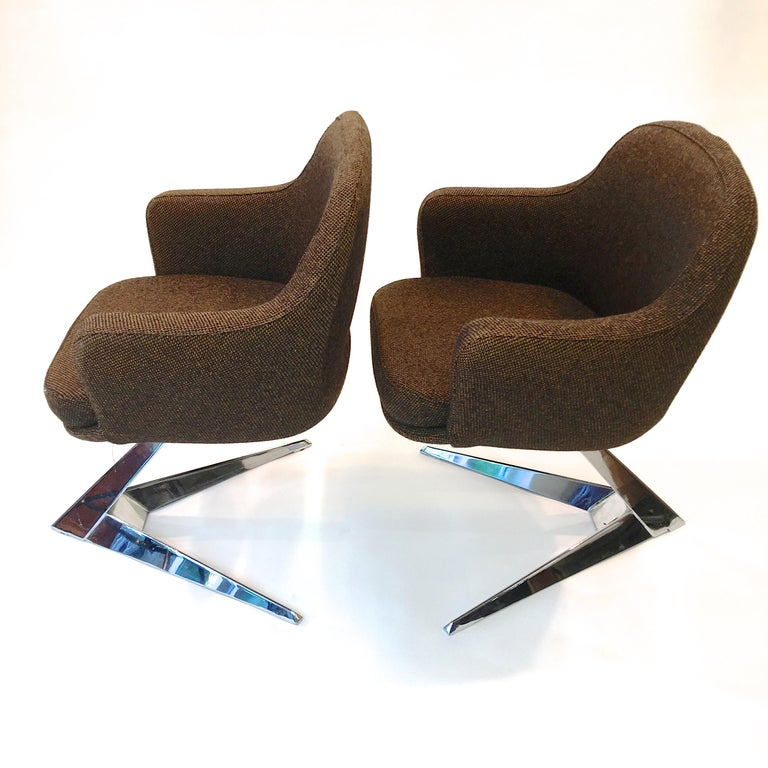 Pair of Fauteuils Attributed to Jacques Adnet for Air France Boardroom In Excellent Condition For Sale In Hingham, MA