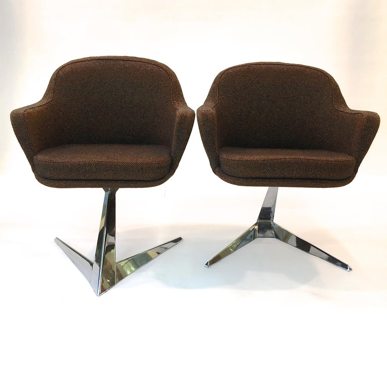 Chrome Pair of Fauteuils Attributed to Jacques Adnet for Air France Boardroom For Sale