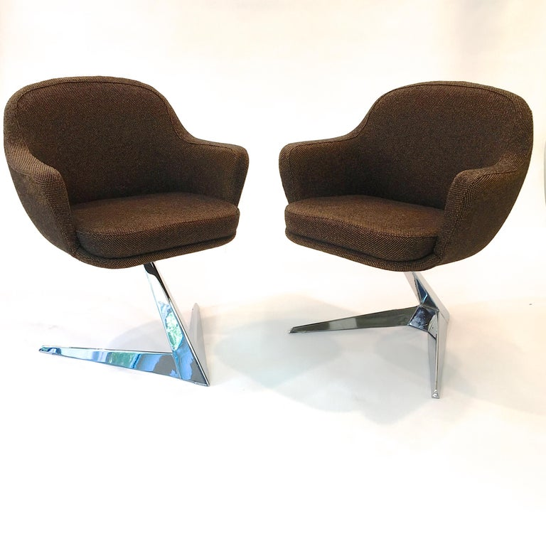 Pair of Fauteuils Attributed to Jacques Adnet for Air France Boardroom For Sale 1