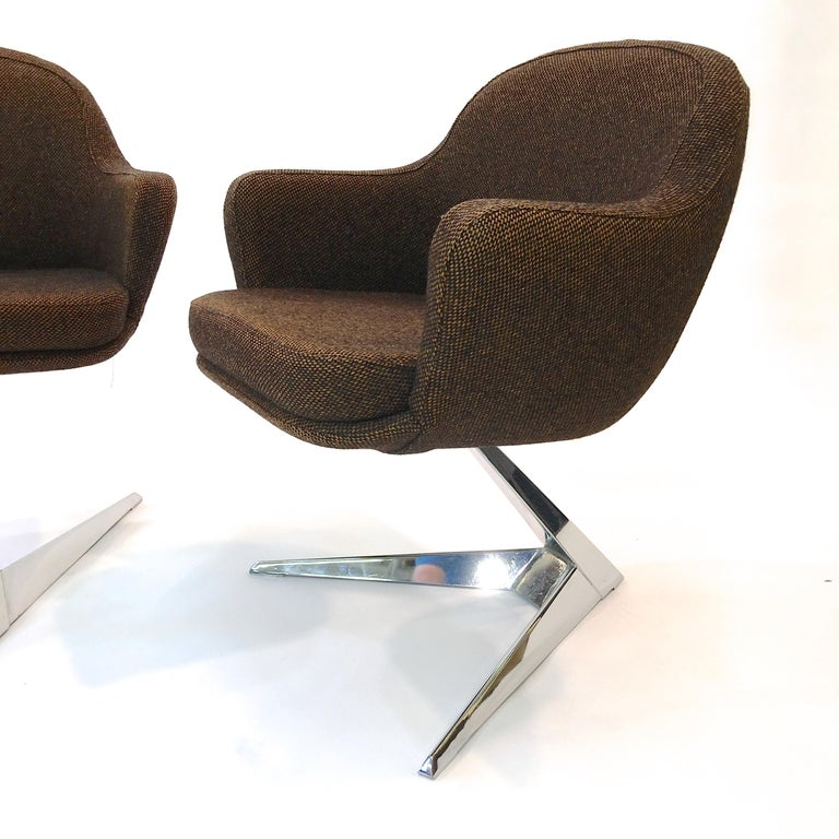 Pair of Fauteuils Attributed to Jacques Adnet for Air France Boardroom For Sale 2