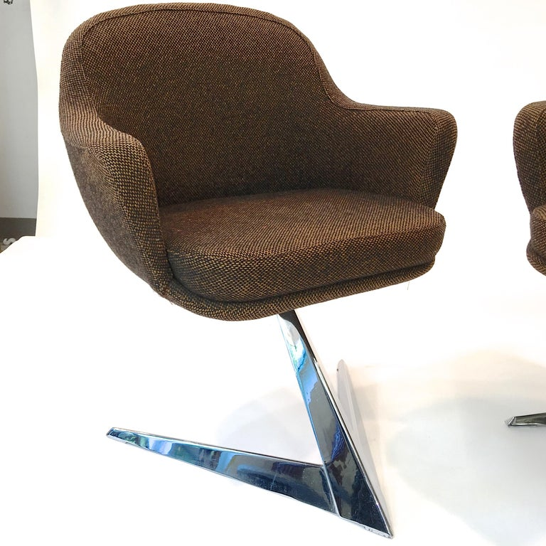 Pair of Fauteuils Attributed to Jacques Adnet for Air France Boardroom For Sale 3