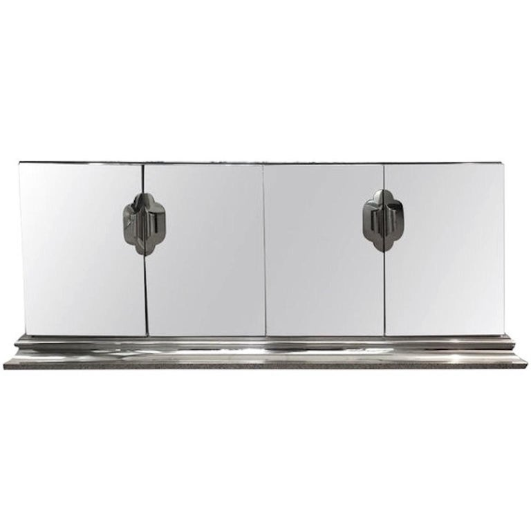 Ello Mirrored Sideboard with Chrome Base and Hardware by O. B. Solie For Sale 3