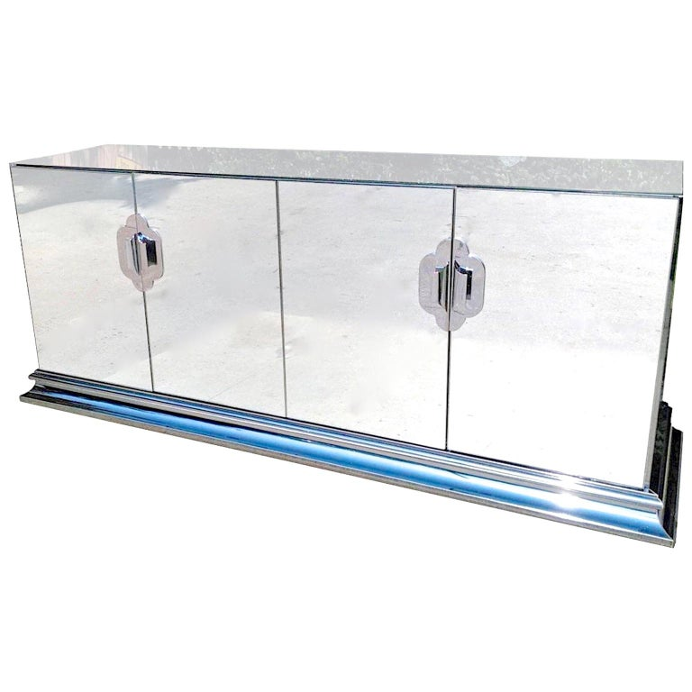 Ello Mirrored Sideboard with Chrome Base and Hardware by O. B. Solie For Sale 5