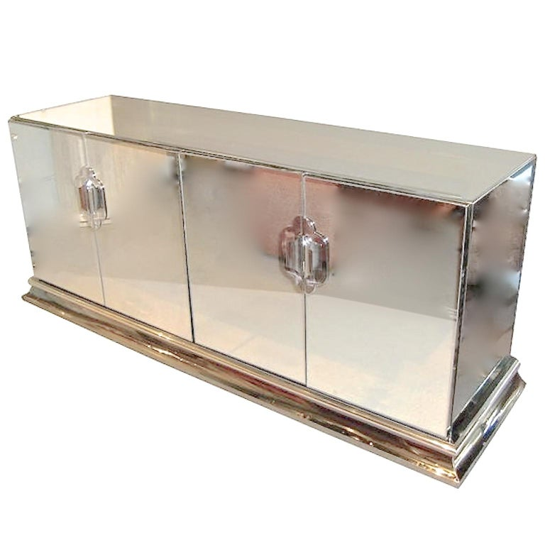 Ello Mirrored Sideboard with Chrome Base and Hardware by O. B. Solie For Sale 9