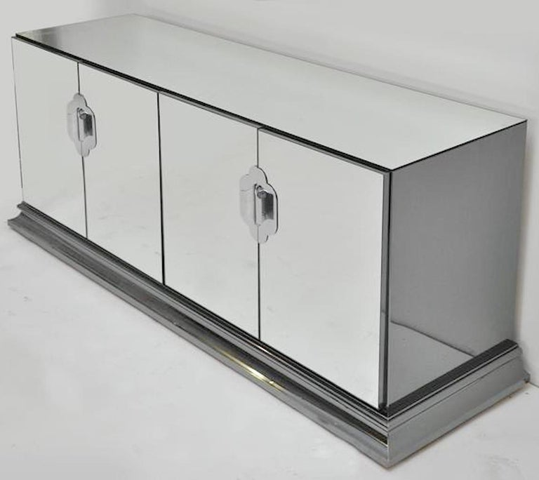 Ello Mirrored Sideboard with Chrome Base and Hardware by O. B. Solie For Sale 4