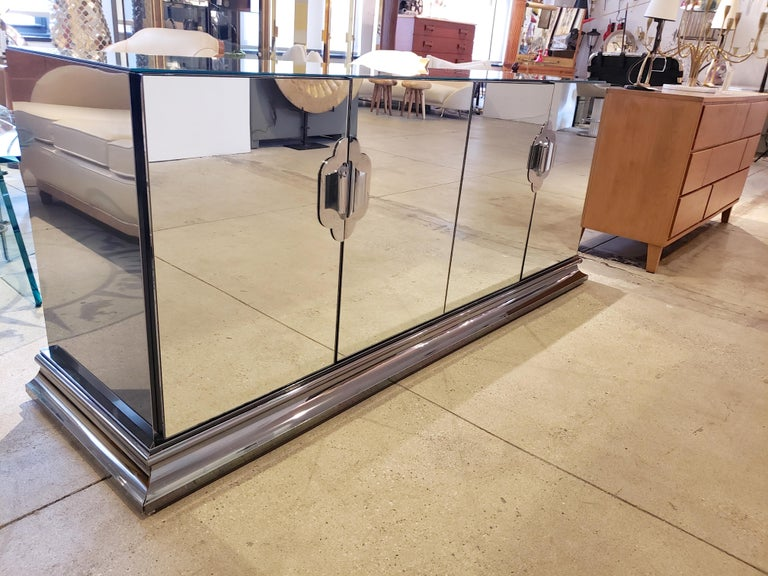 Late 20th Century Ello Mirrored Sideboard with Chrome Base and Hardware by O. B. Solie For Sale