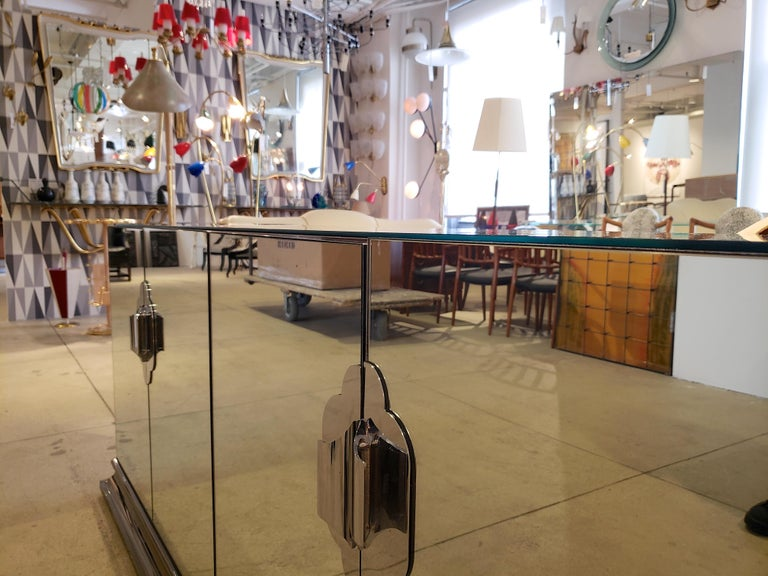 Ello Mirrored Sideboard with Chrome Base and Hardware by O. B. Solie For Sale 1