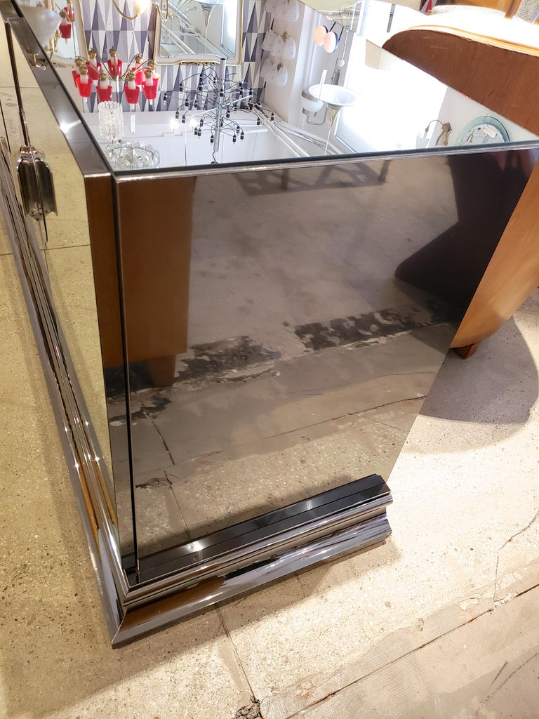 Ello Mirrored Sideboard with Chrome Base and Hardware by O. B. Solie For Sale 2