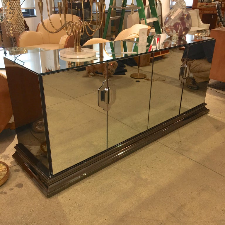 Hollywood Regency Ello Mirrored Sideboard with Chrome Base and Hardware by O. B. Solie For Sale