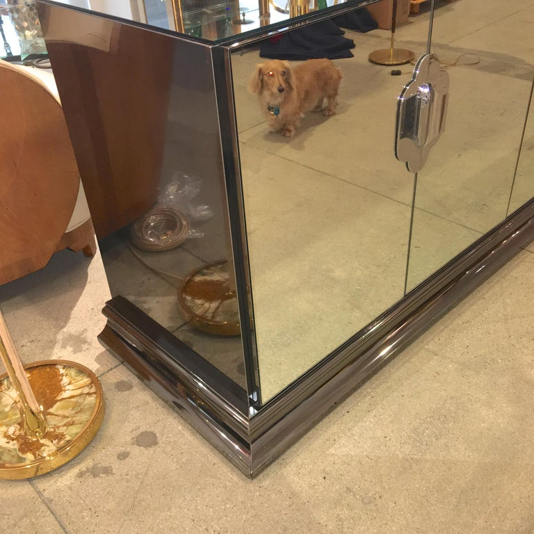 Polished Ello Mirrored Sideboard with Chrome Base and Hardware by O. B. Solie For Sale