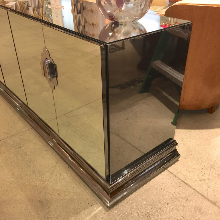 Ello Mirrored Sideboard with Chrome Base and Hardware by O. B. Solie In Excellent Condition For Sale In Hingham, MA