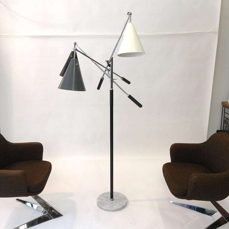 Mid-Century Modern Triennale Floor Lamp Tri-Color, Chrome and Marble by Denis Casey For Sale
