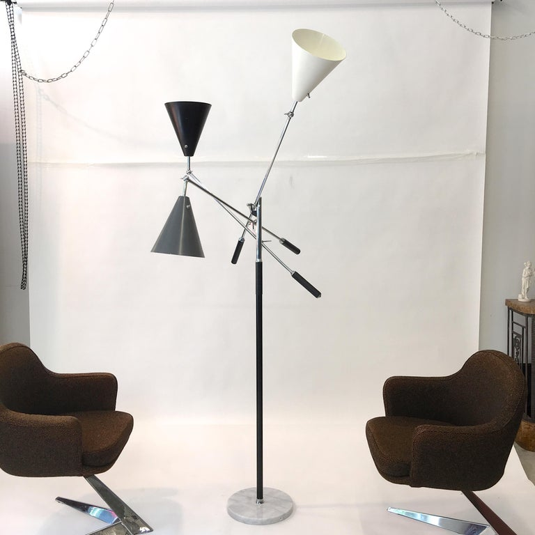 Italian Triennale Floor Lamp Tri-Color, Chrome and Marble by Denis Casey For Sale