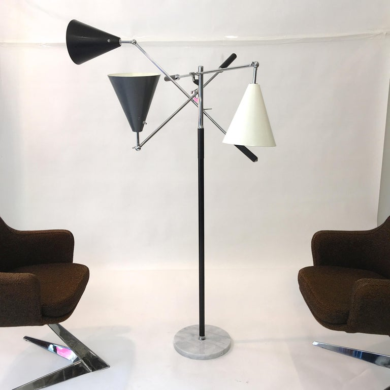 Triennale Floor Lamp Tri-Color, Chrome and Marble by Denis Casey In Good Condition For Sale In Hingham, MA