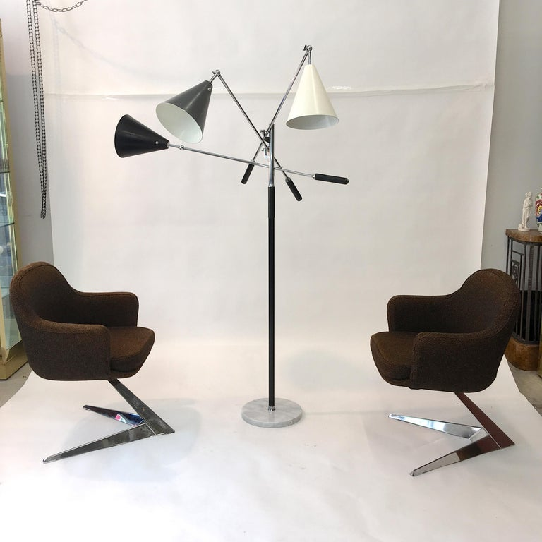 Mid-20th Century Triennale Floor Lamp Tri-Color, Chrome and Marble by Denis Casey For Sale