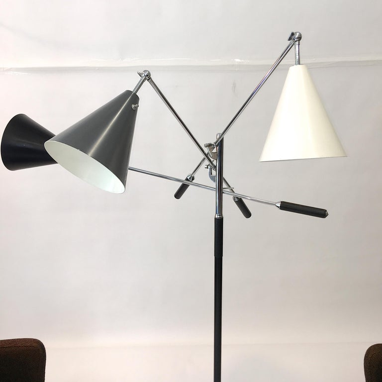 Aluminum Triennale Floor Lamp Tri-Color, Chrome and Marble by Denis Casey For Sale