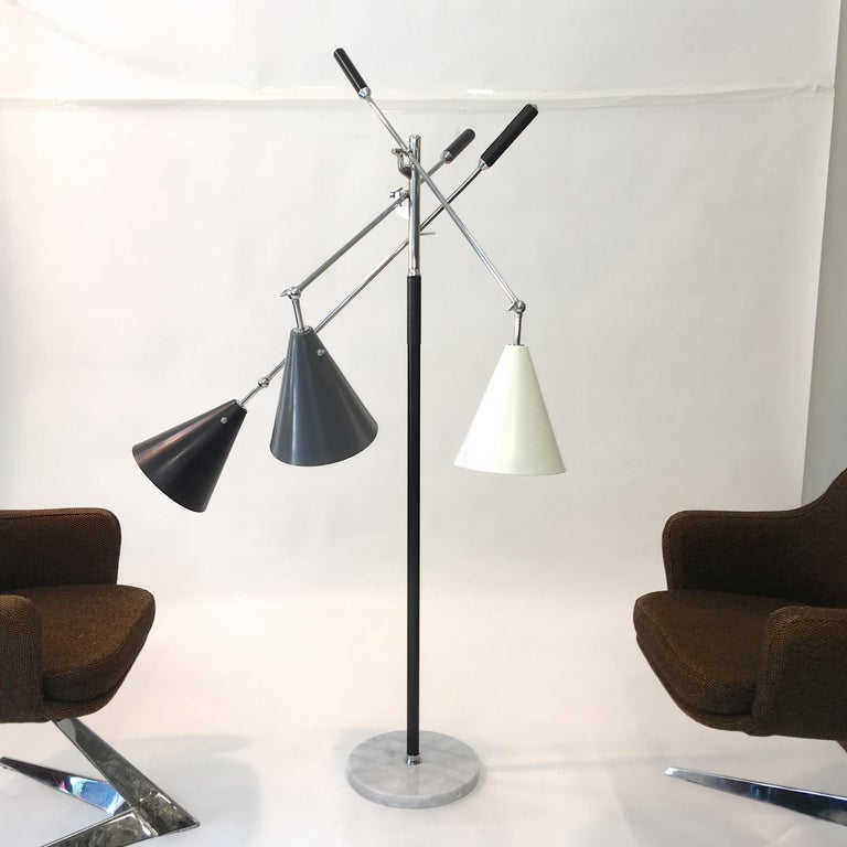 Triennale Floor Lamp Tri-Color, Chrome and Marble by Denis Casey For Sale 7