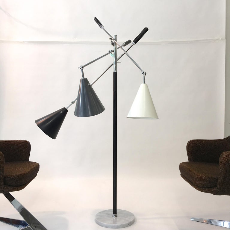Triennale Floor Lamp Tri-Color, Chrome and Marble by Denis Casey For Sale 8