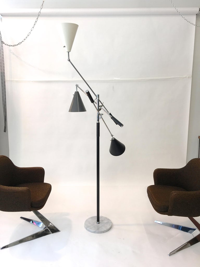 Triennale Floor Lamp Tri-Color, Chrome and Marble by Denis Casey For Sale 9