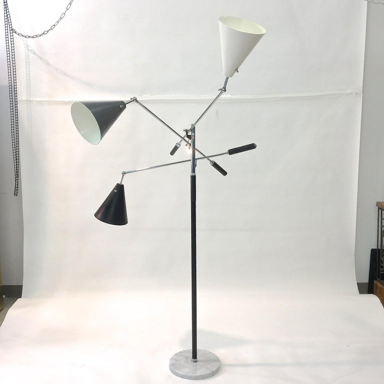 Triennale Floor Lamp Tri-Color, Chrome and Marble by Denis Casey For Sale 10
