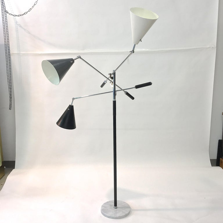 Triennale Floor Lamp Tri-Color, Chrome and Marble by Denis Casey For Sale 11