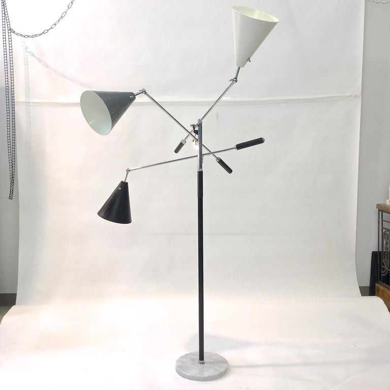 Triennale Floor Lamp Tri-Color, Chrome and Marble by Denis Casey For Sale 12