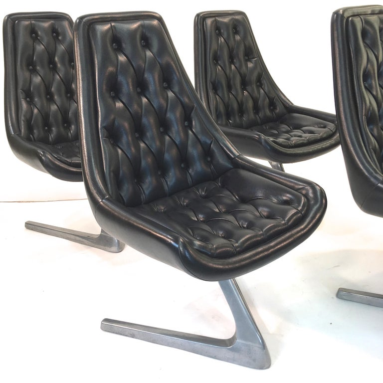 Space Age Set of Eight 'Star Trek' Sculpta Swivel Chairs by Chromcraft For Sale