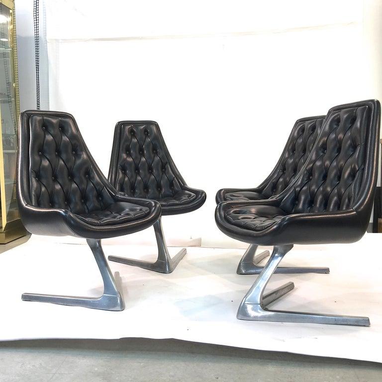 Aluminum Set of Eight 'Star Trek' Sculpta Swivel Chairs by Chromcraft For Sale