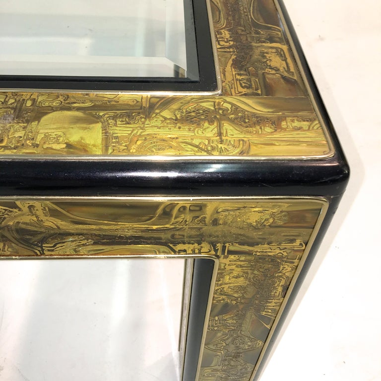 American Bernhard Rohne for Mastercraft Acid Etched Brass and Ebonized Cocktail Table For Sale