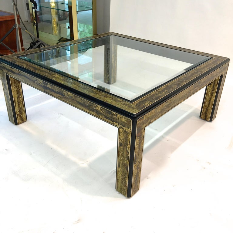 Bernhard Rohne for Mastercraft Acid Etched Brass and Ebonized Cocktail Table For Sale 4