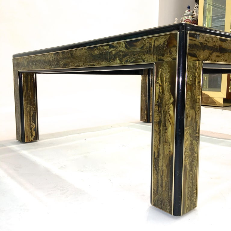 Bernhard Rohne for Mastercraft Acid Etched Brass and Ebonized Cocktail Table For Sale 7
