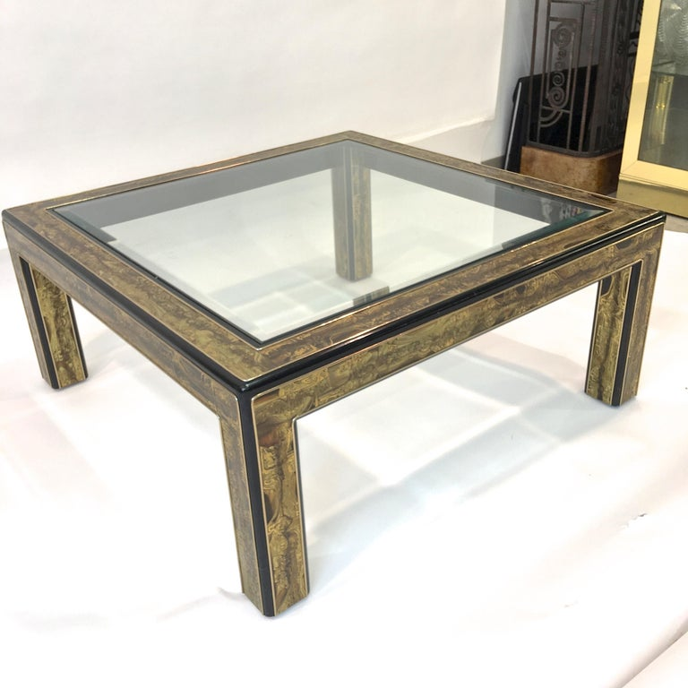 Bernhard Rohne for Mastercraft Acid Etched Brass and Ebonized Cocktail Table For Sale 8