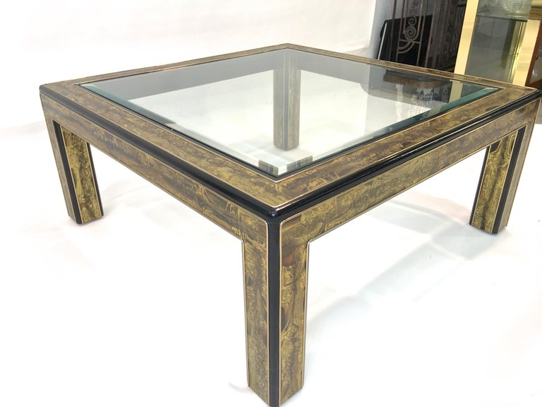 Bernhard Rohne for Mastercraft Acid Etched Brass and Ebonized Cocktail Table For Sale 10