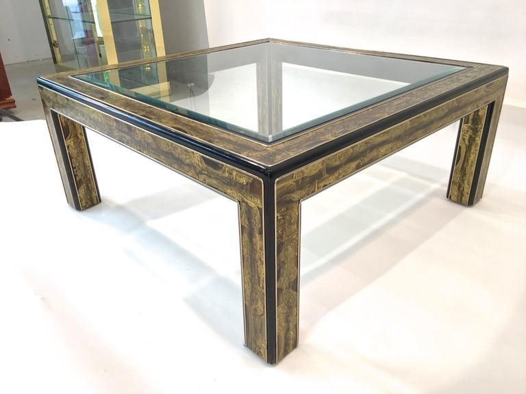 Bernhard Rohne for Mastercraft Acid Etched Brass and Ebonized Cocktail Table For Sale 11