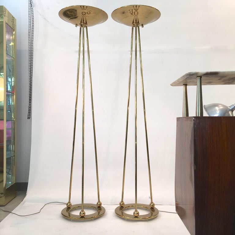 Mid-Century Modern Pair of Casella Olympiad Halogen Torchiere Floor Lamps in Polished Brass For Sale