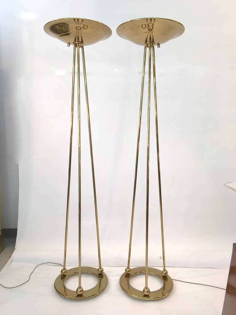 Pair of Casella Olympiad Halogen Torchiere Floor Lamps in Polished Brass In Excellent Condition For Sale In Hingham, MA
