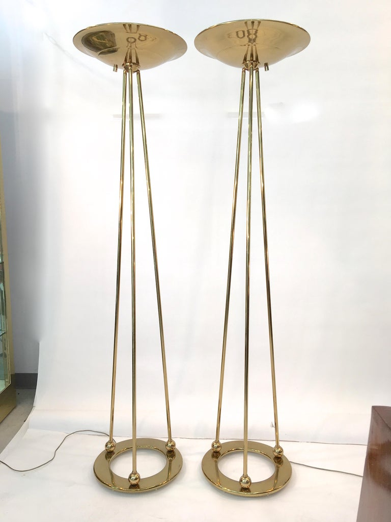 Late 20th Century Pair of Casella Olympiad Halogen Torchiere Floor Lamps in Polished Brass For Sale