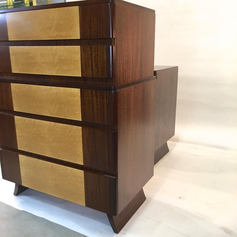 Mahogany American Art Deco Tall Chest of Drawers by R-Way For Sale