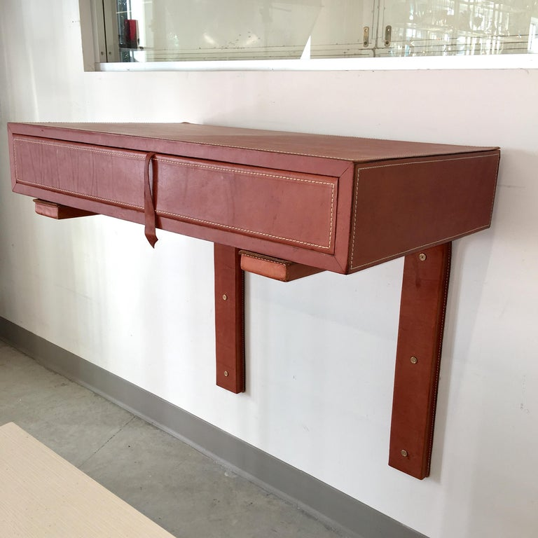 Adnet Style Saddle Stitched Leather Cantilevered Wall Console In Good Condition For Sale In Hingham, MA