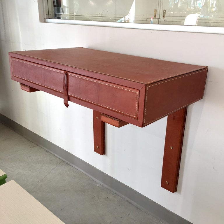 20th Century Adnet Style Saddle Stitched Leather Cantilevered Wall Console For Sale