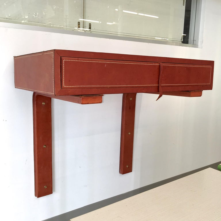 Adnet Style Saddle Stitched Leather Cantilevered Wall Console For Sale 3