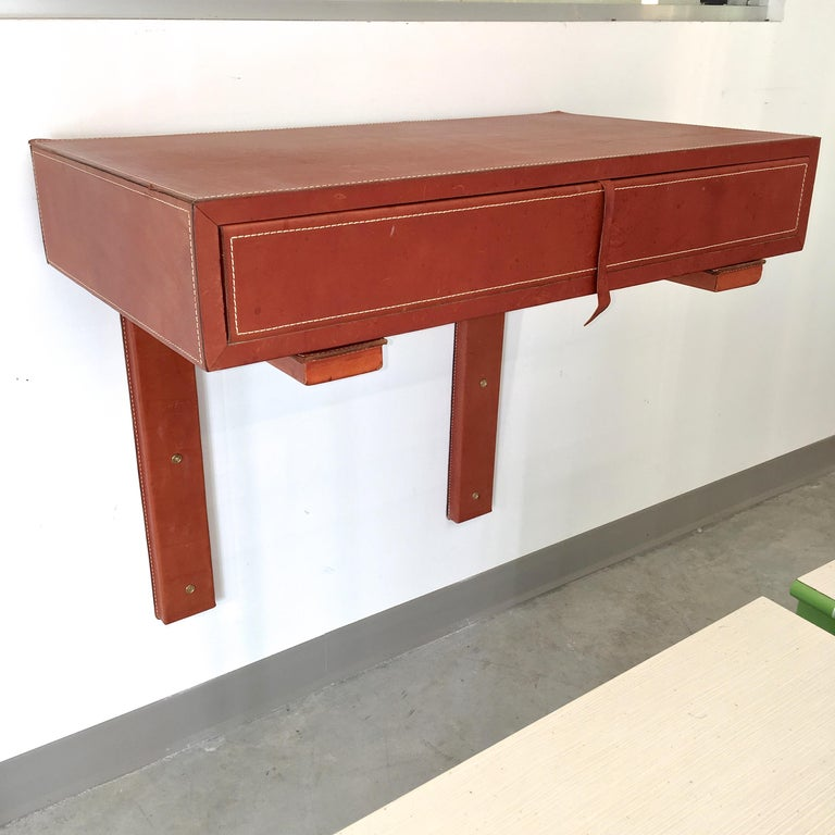 Adnet Style Saddle Stitched Leather Cantilevered Wall Console For Sale 4
