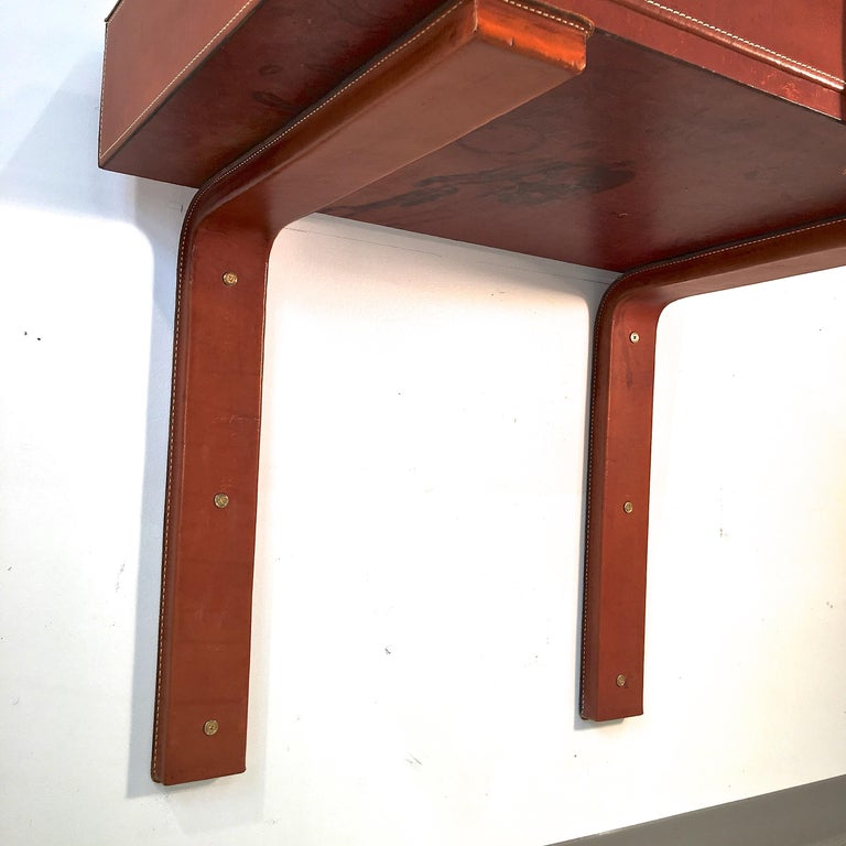 Adnet Style Saddle Stitched Leather Cantilevered Wall Console For Sale 7