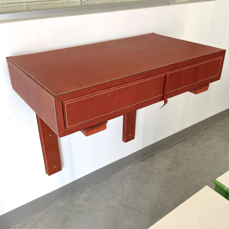 Adnet Style Saddle Stitched Leather Cantilevered Wall Console For Sale 10