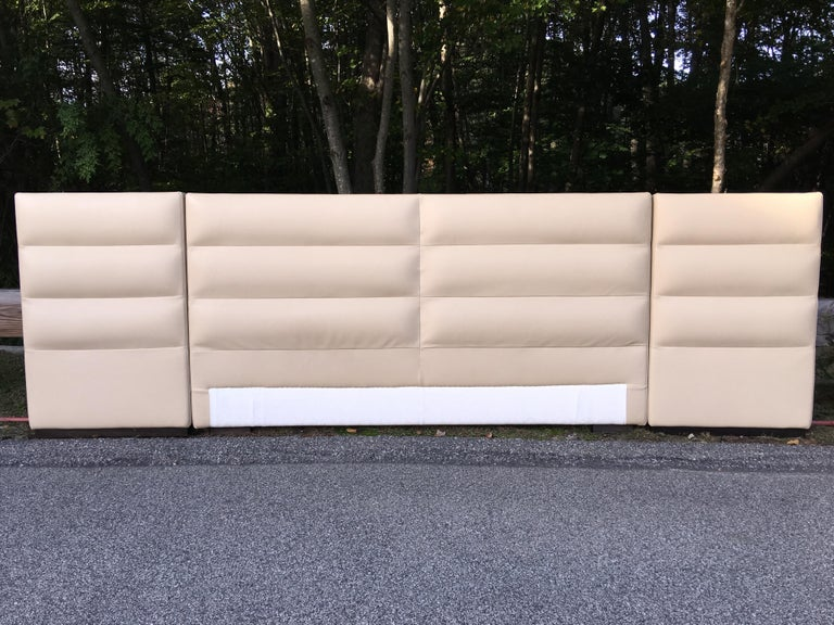 Modern Fendi Casa Leather King 'or Queen' Size Headboard with Integrated Nightstands For Sale