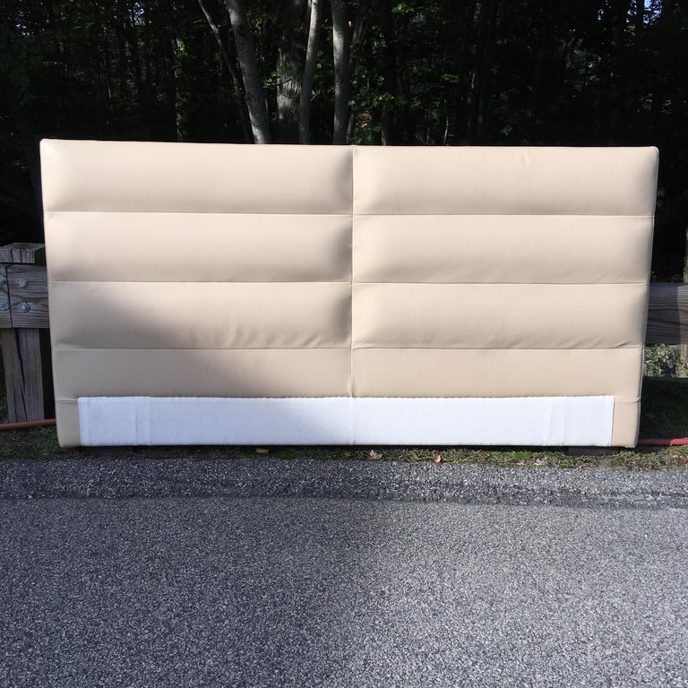 Ebonized Fendi Casa Leather King 'or Queen' Size Headboard with Integrated Nightstands For Sale
