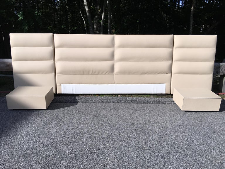 Fendi Casa Leather King 'or Queen' Size Headboard with Integrated Nightstands For Sale 1
