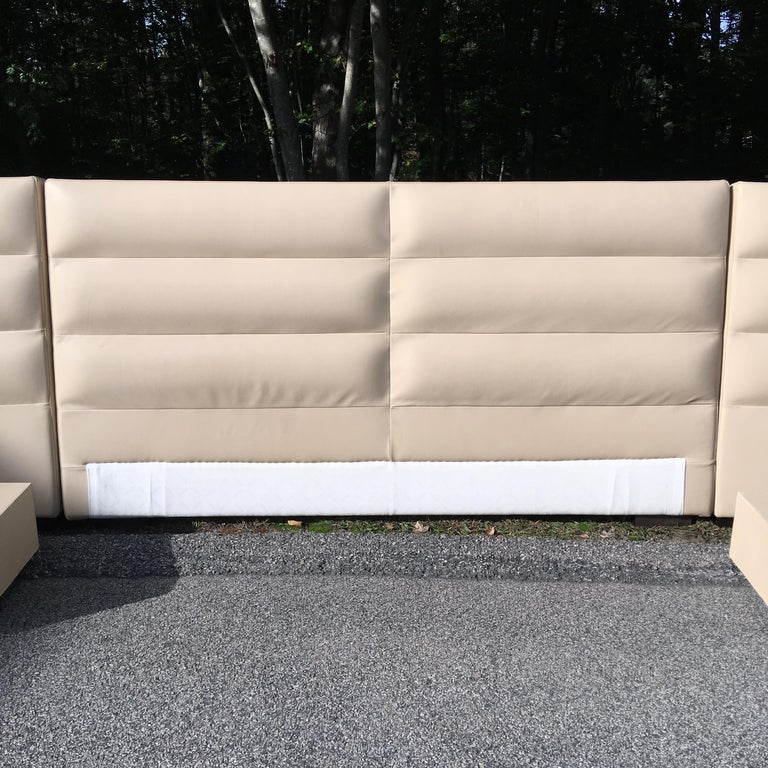 Fendi Casa Leather King 'or Queen' Size Headboard with Integrated Nightstands For Sale 3